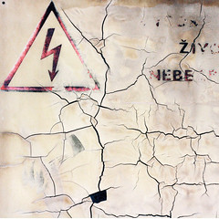 For the next week we predict storms and earthquakes (daliborlev) Tags: electric square urbandecay text brno electricity arrow lettering cracks warningsign mundanedetail crackedplastic ligthningbolt