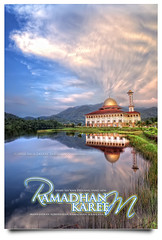 Ramadhan Kareem To All My Muslim Friends ;) (AnNamir c[_]) Tags: sunset lake reflection clouds canon eid kitlens mosque malaysia dome 7d handheld dq ramadhan hdr masjid puasa rk tasik kubah mesjid kualakubu cermin tonemapping tenang kkb vertorama luarbiasa annamir darulquran puteracom tasikhuffaz dqkkb sahabatsejati ramadhankareem getokubicom muktasyaf digitalmukmin huffazlake selamatberpuasa bulanmulia hayatiramadhan kadramadhan