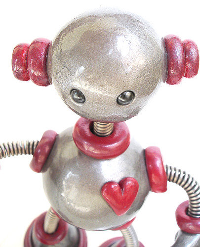 Silver & Red Ted - Robot Sculpture - Close Up