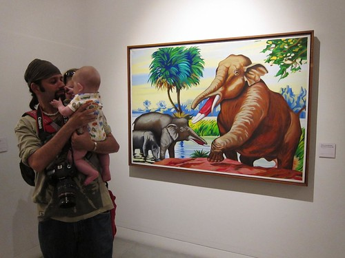 Troy gets some baby Cole time inside The Museum of Antioquia.