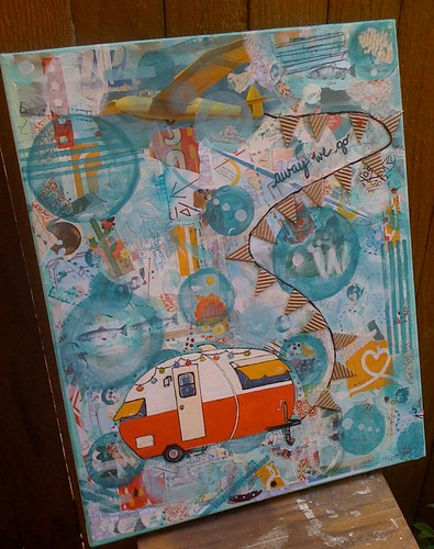 """original collage painting Title: """"away we go...to the pacific northwest"""""""