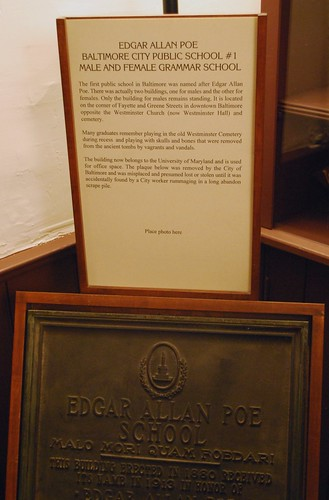 Plaque for the Edgar Allan Poe School