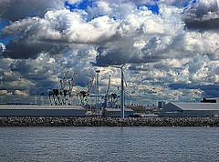 Wind Turbine, Gladstone Container Terminal, Liverpool (Snapshooter46) Tags: liverpool windturbine rivermersey photosketches gladstonecontainerterminal