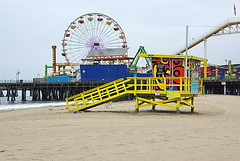 Santa Monica Beach - lifeguard house, Pier and...