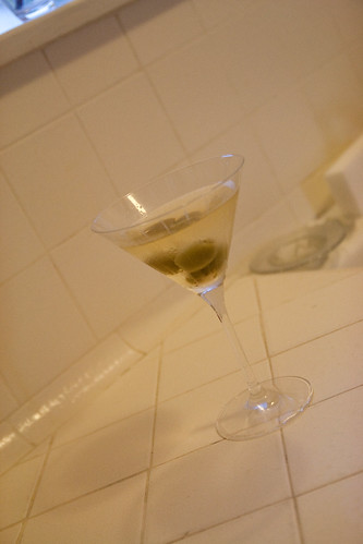 A dirty martini to help with the cooking