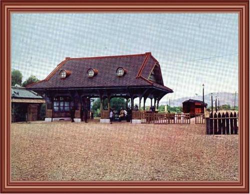 「新北投驛」圖片,為目前考據最早之新北投車站圖片