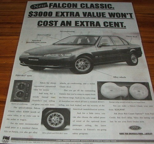 1998 Ford Au Falcon Xr6 Vct. 1995 Ford EF Falcon Classic
