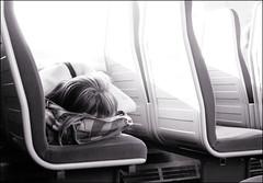 Rail sleeper (sk31k) Tags: girl monochrome train fuji seats highkey asleep blackwhitephotos f200exr