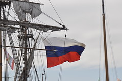 Russian flag waving on Kruzenshtern