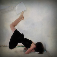 """""""We dont need no education."""" (Emily Grace.) Tags: portrait girl lift books textures exams results levitate ortrait"""