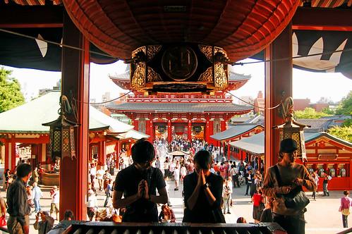 Praying at Sensō-ji