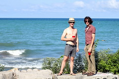 The Director and the Musician (Josh Koonce) Tags: park blue friends lake chicago green water waves horizon seawall lakemichigan shore lakefront promontorypoint revetment chicagoparkdistrict
