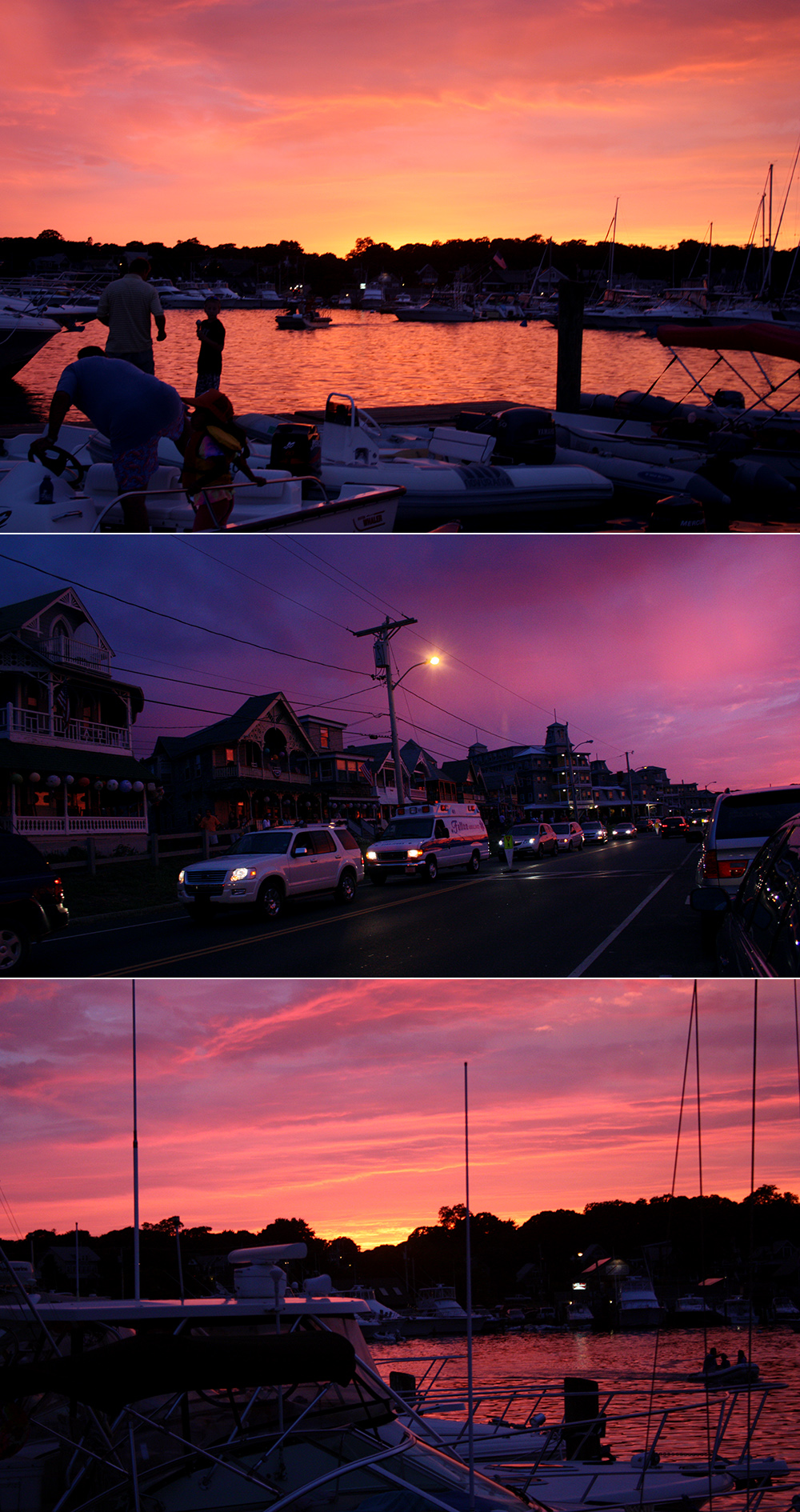 sunset in oak bluffs, martha's vineyard