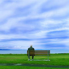 A little more room to spare (Sator Arepo) Tags: leica sea sky beach port bench golf scotland highlands fishing sitting loneliness peace view resort sit leisure inverness dlux nairn forrestgump dlux4 retofez120313