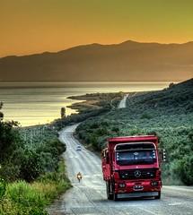 Mercedes (Nejdet Duzen) Tags: road trip travel sunset lake truck turkey trkiye yol bursa gnbatm gl turkei iznik seyahat kamyon mywinners