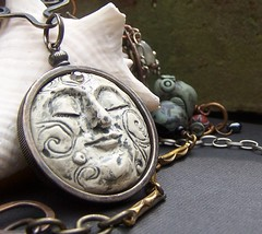 Fair Moon (cadeswelkin) Tags: moon white art face found necklace mixed handmade goddess harvest objects jewelry luna clay etsy metals cade polymer