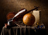 Still Life with Quill and Globe (kevsyd) Tags: violin quill kevinbest dutchstilllife fuseewatch pewterinkwell