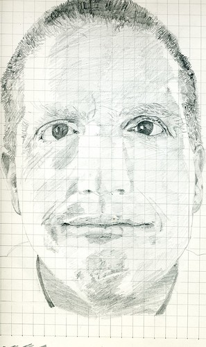 grid pencil self-portrait