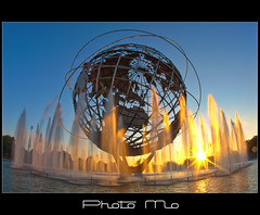 Unisphere Fountain @ Sunrise (Mike Orso) Tags: park new york fountain pool sunrise reflecting earth steel tripod meadows landmark fair corona worlds hdr circular stainless unisphere flushing