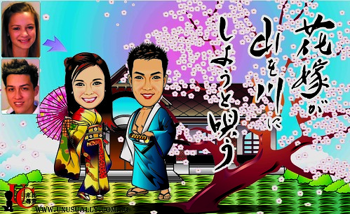 Personalized Caricature Japanese Theme Drawing