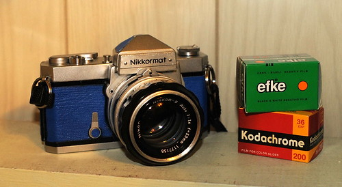 Blue Nikkormat FTn with films
