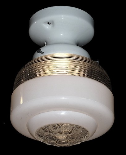antique ceiling fixture mid-century vintage glass shade (1) - Copy