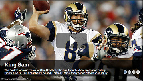 snapshot of the front page of NFL.com, featuring 'King Sam' and the Rams
