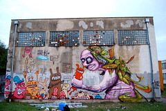 the finished wall (mrzero) Tags: festival wall graffiti character sac style crew slovakia cans jam kosice cfs mrzero ironlak sior coloredeffects bki streetartcommunication