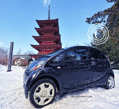 "Mitsubishi ""i"" in winter (Glenn Waters in Japan.) Tags: trees winter sky snow car japan japanese pagoda nikon aomori  hirosaki     japon mitsubishi    gojunoto    mitsubishii d700 nikond700  glennwaters photosjapan  mitsbishii"