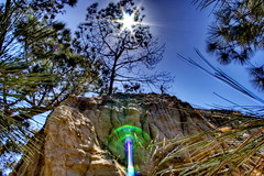take me to your leader (eggrole) Tags: blue sky cliff sun tree green nature stone pine high sand sandstone glare dynamic image hiking flash stat hike trail pines burst range hdr torrey