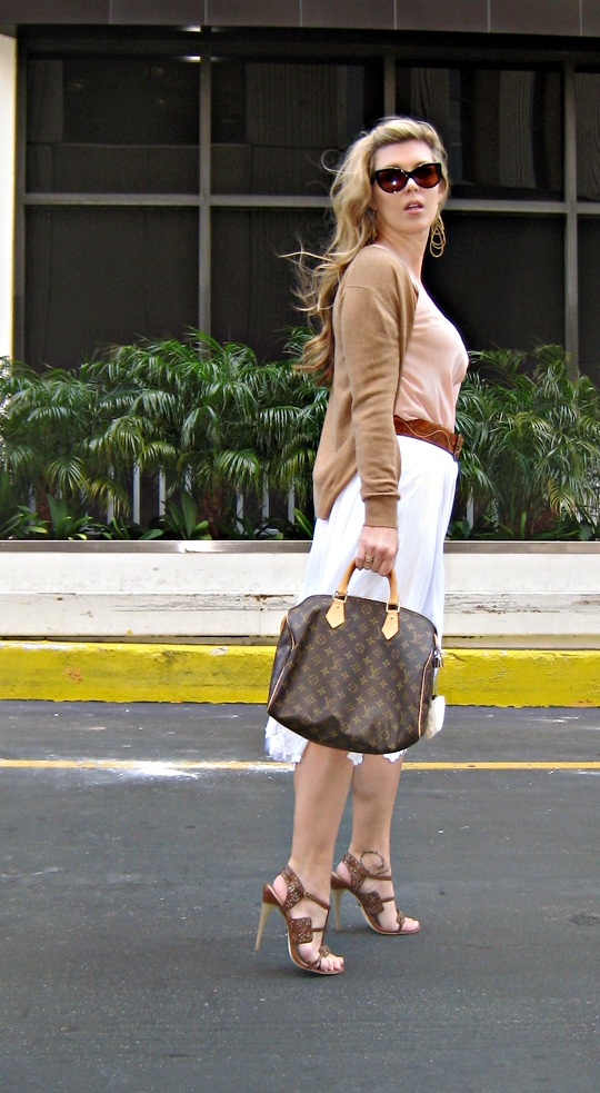 Lamb Sandals+louis vuitton speedy+white skirt+wind blown hair+tom ford anouk sunglasses
