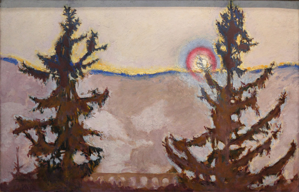 Koloman Moser, Semmeringlandschaft bei Sonnenuntergang [Semmering Landscape at Sunset], 1913