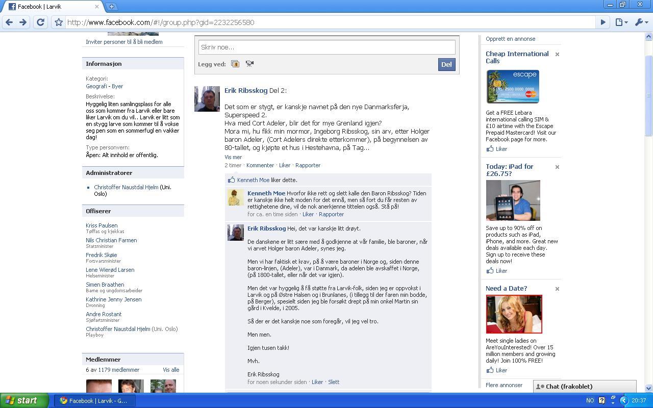 facebook larvik baron adeler