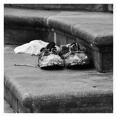 Past their sell by date....? (Bob the Binman) Tags: monochrome blackwhite shoes poland trainers warsaw reebok nikond90
