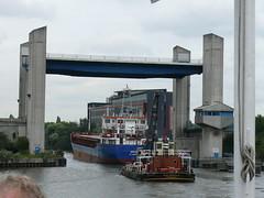 022. Manchester Ship Canal Cruise - Centenary Lift Bridge 100826 (maljoe) Tags: bridge canal bridges canals shipping manchestershipcanal merseyferries manchestershipcanalcruise