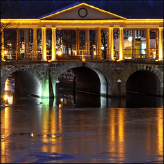 KORENBRUG (leuntje) Tags: bridge winter monument netherlands reflections leiden ancient explore bluehour brug frontpage ijs korenbrug nieuwerijn rijksmonument