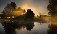 Lost fantasies (Kevin Day) Tags: mist lake reflection misty sunrise dawn deadtree slough berkshire kevday tranquil langleypark