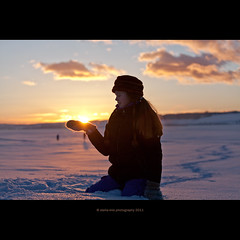 'O Sole Mio (stella-mia) Tags: winter sunset sun snow ice girl norway lensflare hamar sn mjsa 70200mm hightlight osolemio helgya canon5dmkii lakemjsa annakrmcke nesandhelgya