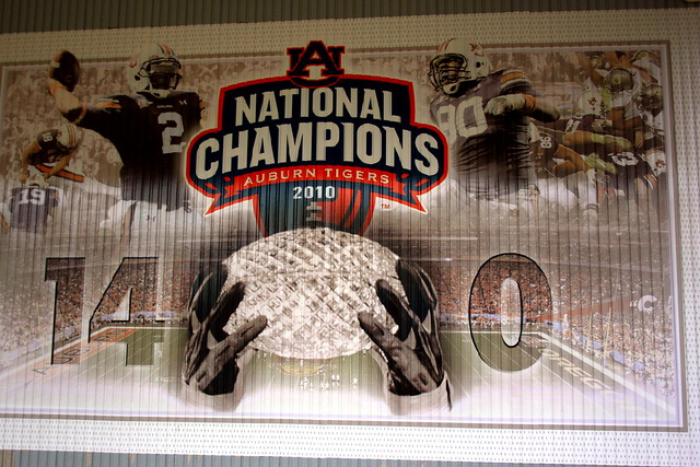 National Champs banner at Toomer's Corner