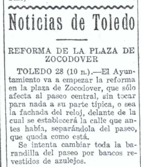 29 julio de 1925 La Voz  hace una descripción  de la reforma de Zocodover