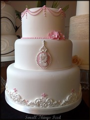 Vintage Cameo Wedding Cake (SmallThingsIced) Tags: pink wedding white vintage weddingcake cameo piping vintageweddingcake hampshirecakes hampshireweddingcakes