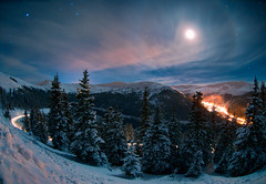 Overnight Bouquet (Mike Berenson - Colorado Captures) Tags: winter sky moon snow mountains cold weather night stars colorado alpine sirius orion rigel rockymountains canismajor allrightsreserved lovelandpass lovelandskiarea coloradocaptures mikeberenson copyright2011bymikeberenson