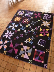 Solid Pinwheels Front (-Vivie-) Tags: pink red black green yellow noir purple sampler fabric finished patchwork kona solid pinwheels moulins quiltingbee