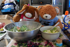 Day 248 - Giant salad. (twohearts.) Tags: bear bunny animal giant salad big stuffed project365 foreverandever oneobject365daysproject 365toyproject kimandmiguel