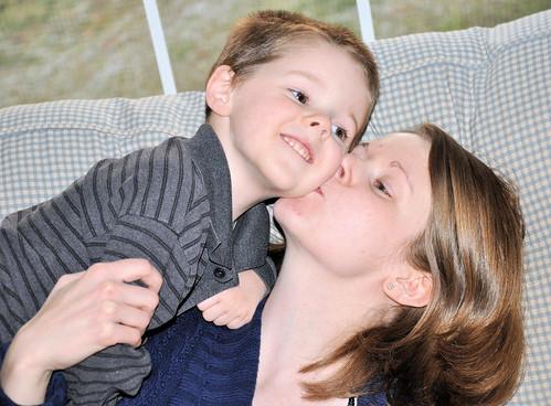 momma kissing caleb