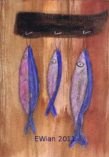 three little fishes hanging in a row 1