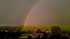 Two pots of gold, right in my backyard! (blondinrikard) Tags: regnbåge rainbow högsbo marklandsgatan weather väder doublerainbow dubbelregnbåge houses trees göteborg sweden