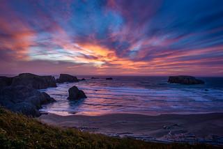 Sunset on Bandon Beach, Oregon
