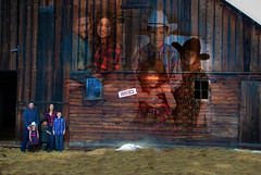The Farm (Fraser8888) Tags: barn farm horses children people woman man girl boy fun hay wood outdoors winter hat cowgirl denim jeans plaid brunette photoshop bc canada beautiful love family gathering fresh mother daughter