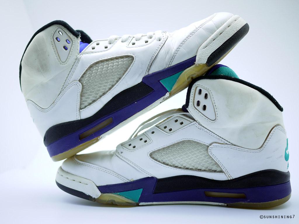 17b760134ebba8 Sunshining7 - Nike Air Jordan V (5) - OG 1990 - White Purple Emerald